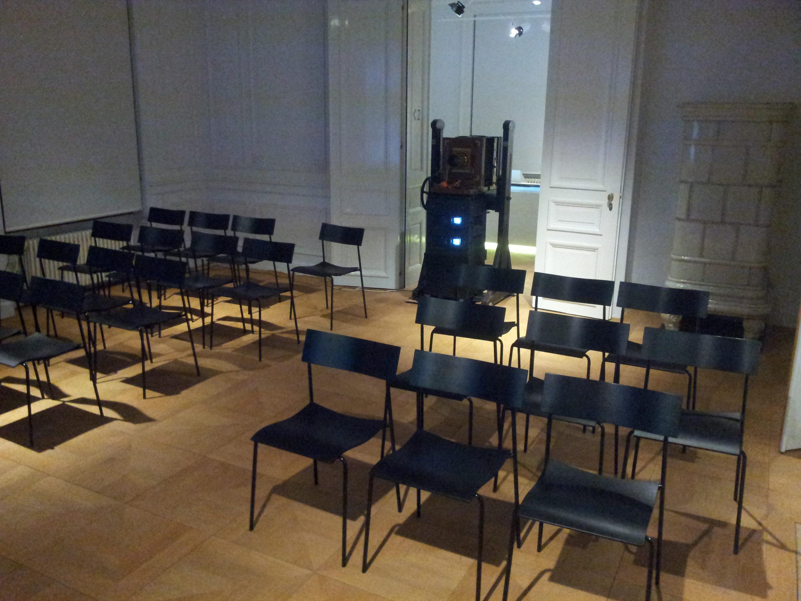 Système de projection polarisée intégré dans ancien appareil de studio
